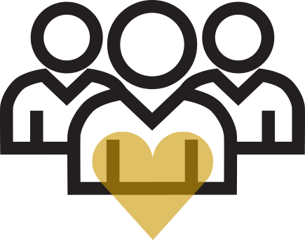 Three People with a gold heart between