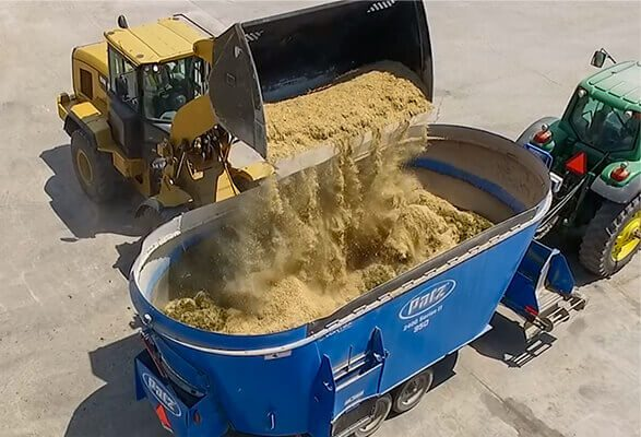 Feed being transported