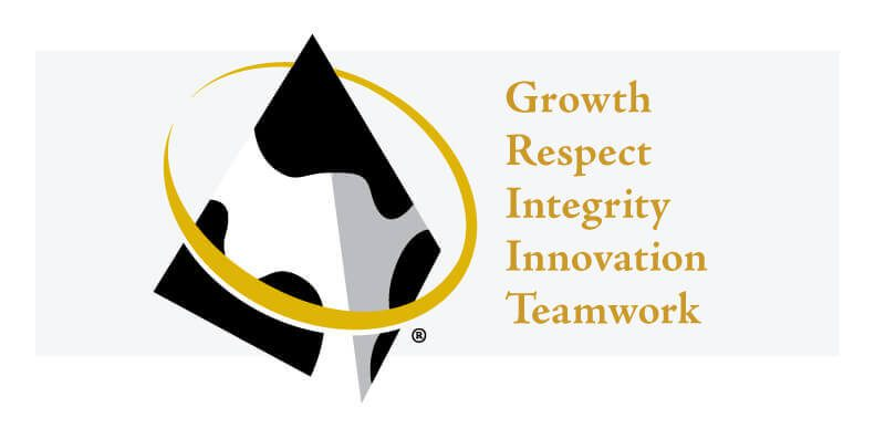 Growth, Respect, Integrity, Innovation, Teamwork with GPS Pyramid